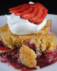 Strawberry Cobbler cooked on my _traegergrills Tailgater in a cast iron skillet_•_•_•_•_•__driscollsberry _traegerculinary _whiskeybentbbq _