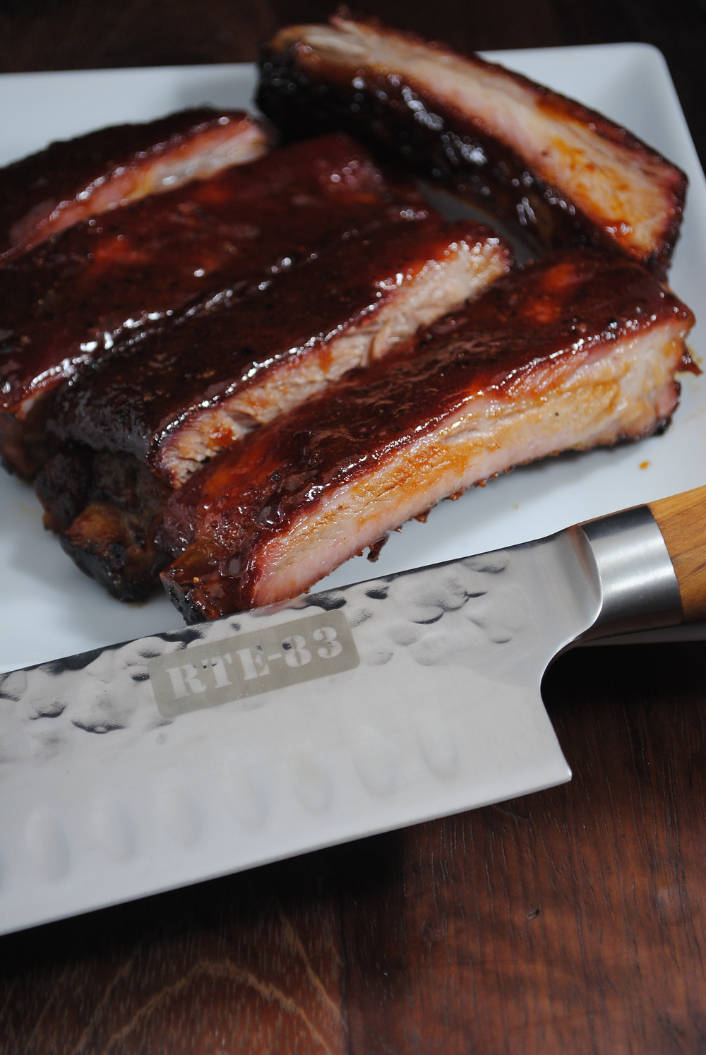 Finished ribs sliced with a Route 83 knife
