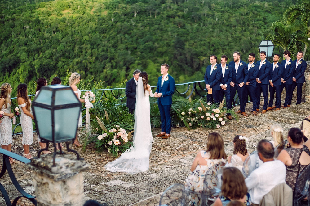 Floral Semi Circle on ground ceremony pampas