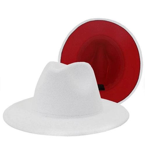Red Bottom Fedora White