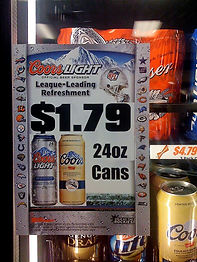 Freezer adhesive Beer Cooler Door Decal.