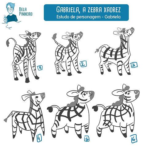 Estudo de personagem_Gabriela, a Zebra x