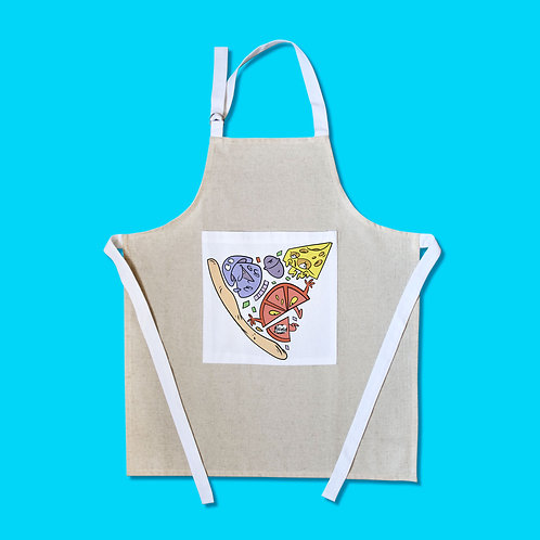 Tablier motif cartoon Tootoons, modèle Part de Pizza, texte personnalisable