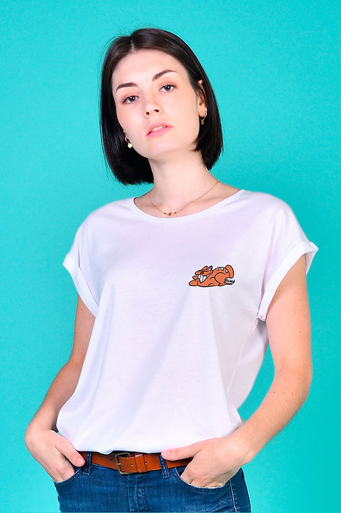 Tee-shirt Femme Tootoons, modèle Chat souriant, texte personnalisable