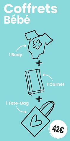 1 Coffret Bébé : 1 Body + 1 Carnet + 1 Tote-bag motif cartoon Tootoons