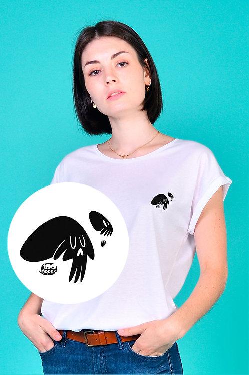 Tee-shirt Femme motif cartoon Tootoons, modèle Crânes noirs