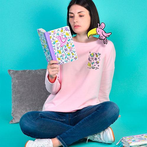 Sweat Femme Tootoons, modèle Oiseaux & Fleurs, texte personnalisable