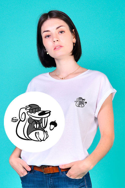 Tee-shirt Femme motif cartoon Tootoons, modèle Ecureuil