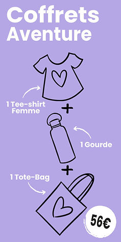 Coffret Aventure : 1 Tee-schirt femme + 1 Gourde + 1 Tote-bag motif cartoon Tootoons