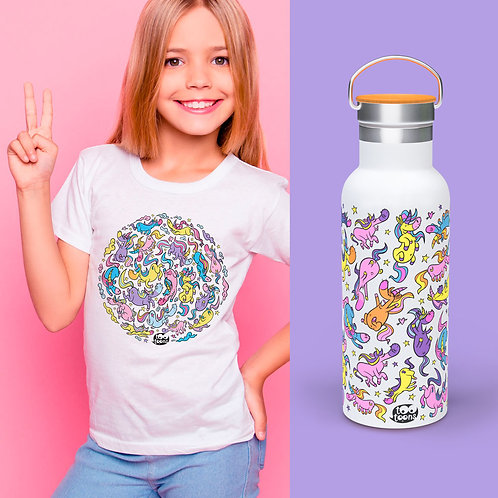 Coffret JUNIOR Licornes : 1 Tee-Shirt Enfant/Ado + 1 Gourde 500 ml