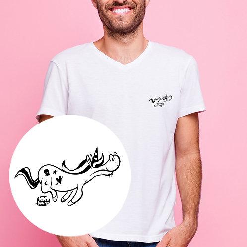 Tee-shirt Homme motif cartoon Tootoons, modèle Licorne, col V
