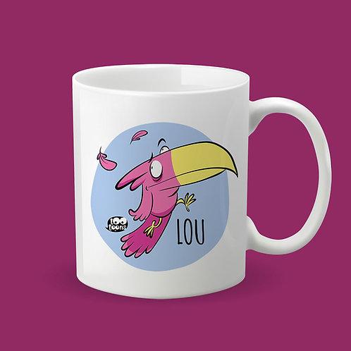 Mug Céramique cartoon Tootoons, modèle Toucan, texte personnalisable