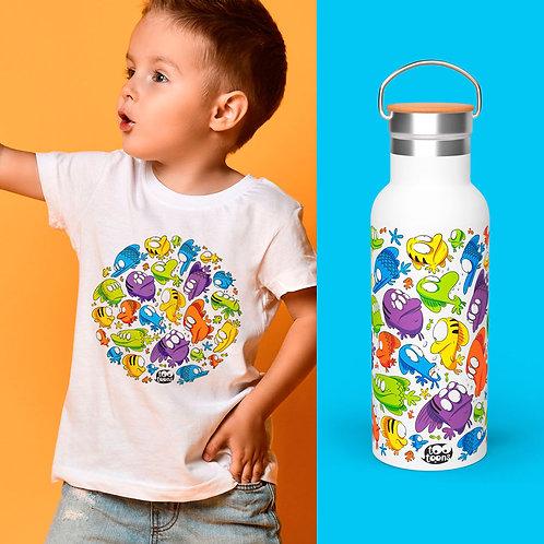 Coffret JUNIOR Poissons : 1 Tee-Shirt Enfant/Ado + 1 Gourde 500 ml