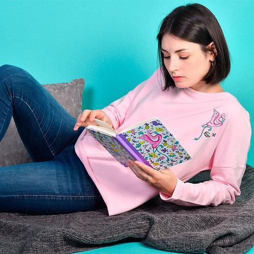 Sweat Femme Tootoons, modèle Flamant rose, texte personnalisable