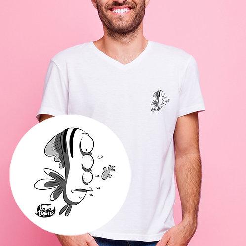 Tee-shirt Homme motif cartoon Tootoons, modèle Poisson étrange, col V