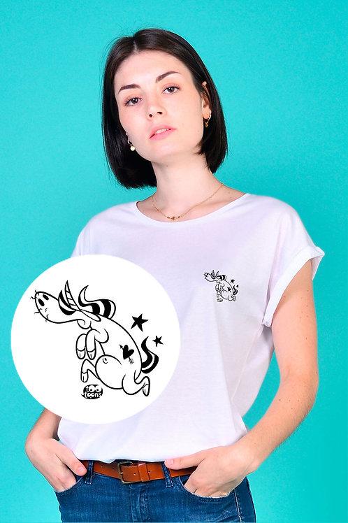 Tee-shirt Femme motif cartoon Tootoons, modèle Licorne fonceuse