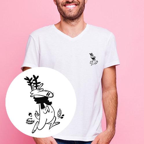 Tee-shirt Homme motif cartoon Tootoons, modèle Renne, col V