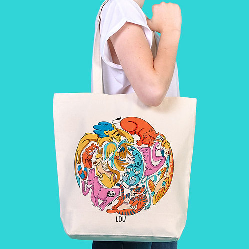 Sac Tote-bag cartoon Tootoons, modèle Zoo, texte personnalisable