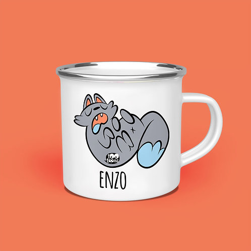 Mug vintage Tootoons 480 ml, modèle Chat relax, texte personnalisable