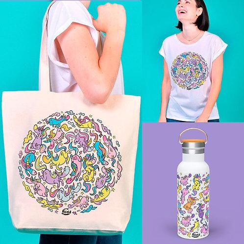 Coffret AVENTURE Licornes : 1 Tee-shirt Femme + 1 Gourde 500 ml + 1 Tote-bag