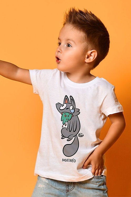 Tee-shirt Enfant/Ado Tootoons, modèle Chat malade, texte personnalisable