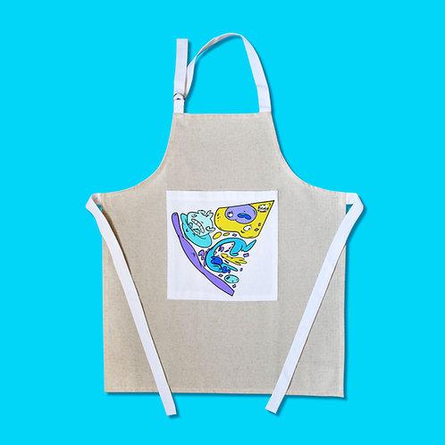 Tablier motif cartoon Tootoons, modèle Part de Pizza bleu, texte personnalisable
