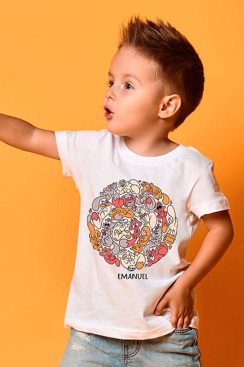 Tee-shirt Enfant/Ado Tootoons, modèle Chats Orange, texte personnalisable