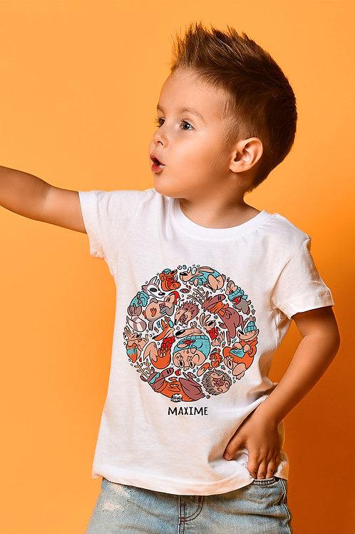 Tee-shirt Enfant/Ado Tootoons, modèle Animaux de la forêt, texte personnalisable