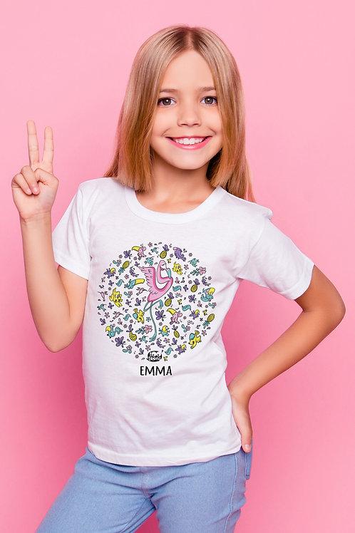 Tee-shirt Enfant/Ado Tootoons, modèle Flamant rose & Cie, texte personnalisable