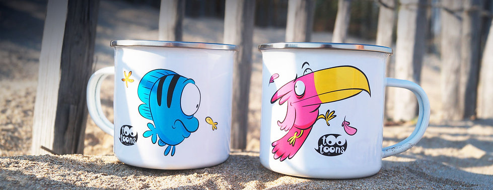 Mugs en céramique ou en métal vintage personnalisables motif cartoon Tootoons