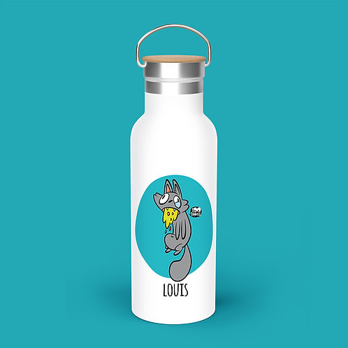 Gourde Isotherme  cartoon Tootoons 500ml, Chat malade, texte personnalisable