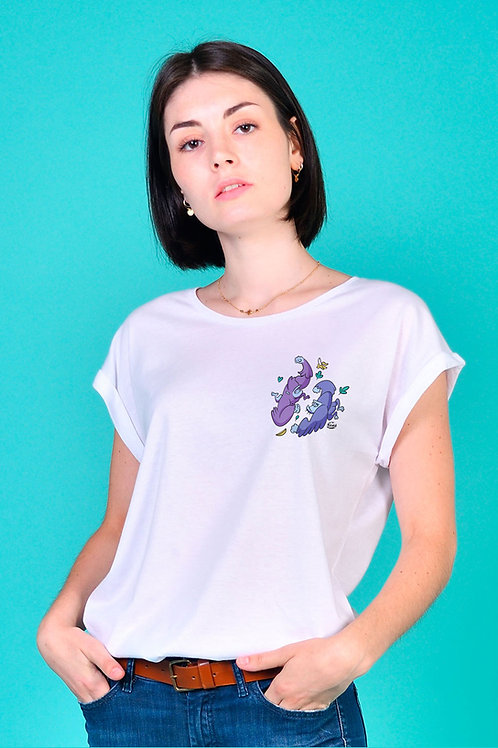 Tee-shirt Femme Tootoons, modèle Duo de gorilles, texte personnalisable