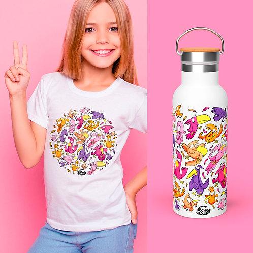 Coffret JUNIOR Oiseaux : 1 Tee-Shirt Enfant/Ado + 1 Gourde 500 ml