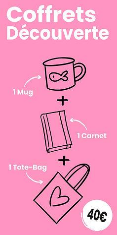 Coffret Découverte : 1 Mug + 1 Carnet + 1 Tote-bag motif cartoon Tootoons