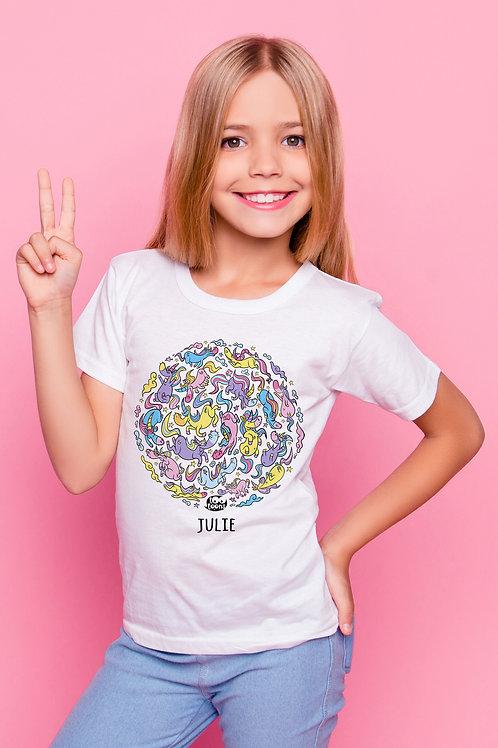 Tee-shirt Enfant/Ado Tootoons, modèle Bande de licornes, texte personnalisable