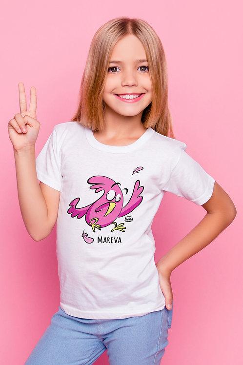 Tee-shirt Enfant/Ado Tootoons, modèle Oiseau en panique, texte personnalisable