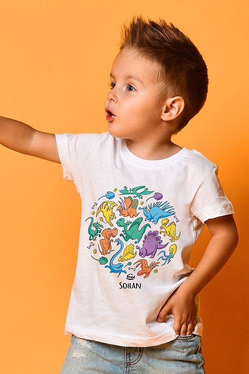 Tee-shirt Enfant/Ado Tootoons, modèle Bande de dinausores, texte personnalisable