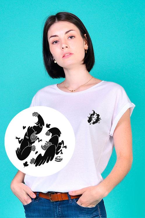 Tee-shirt Femme motif cartoon Tootoons, modèle Duo de gorilles