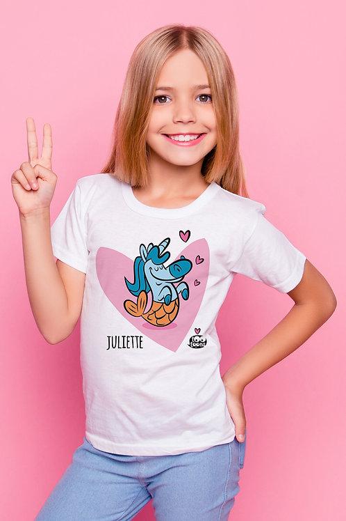 Tee-shirt Enfant/Ado Tootoons, modèle Licorne/Poisson, texte personnalisable