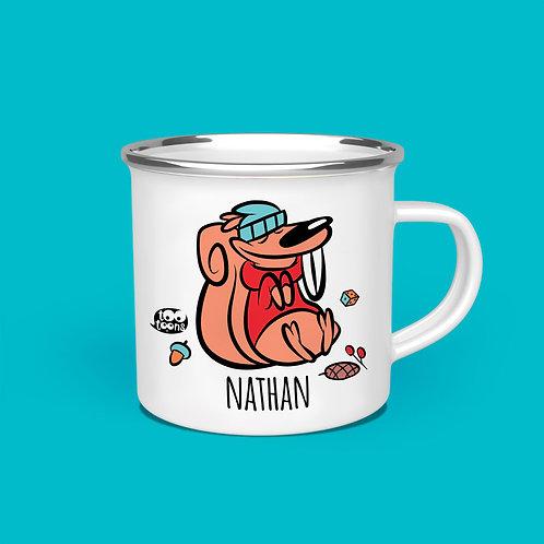Mug vintage Tootoons 480 ml, modèle Ecureuil, texte personnalisable