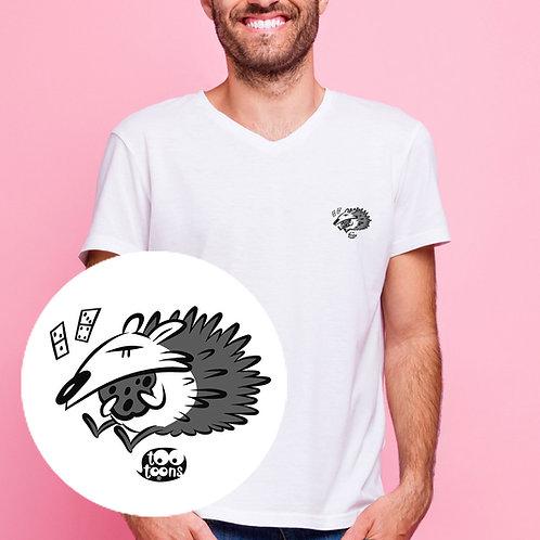 Tee-shirt Homme motif cartoon Tootoons, modèle Hérisson, col V