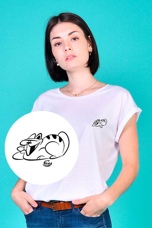 Tee-shirt Femme motif cartoon Tootoons, modèle Chat souriant