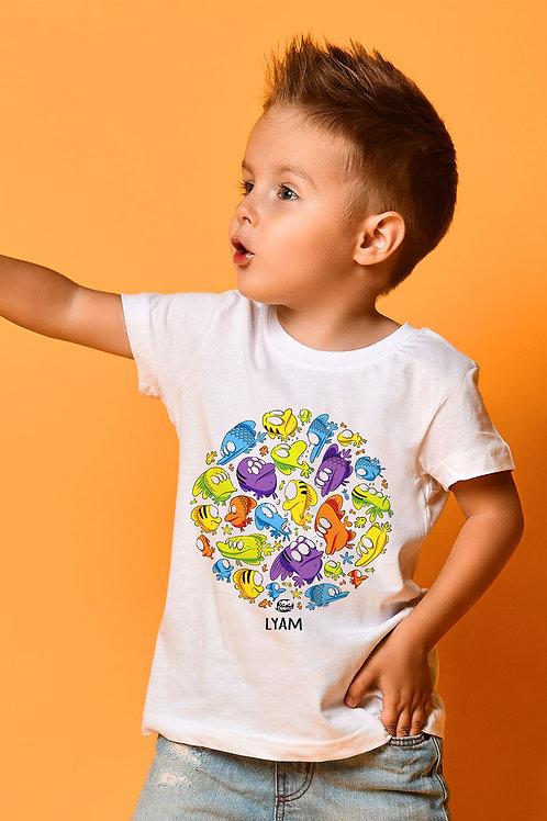 Tee-shirt Enfant/Ado Tootoons, modèle Banc de poissons, texte personnalisable