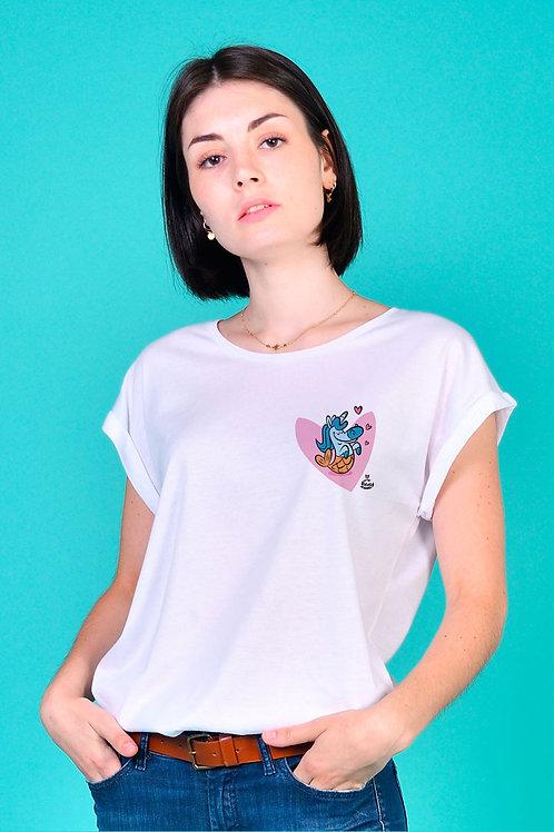 Tee-shirt Femme Tootoons, modèle Licorne/Poisson, texte personnalisable