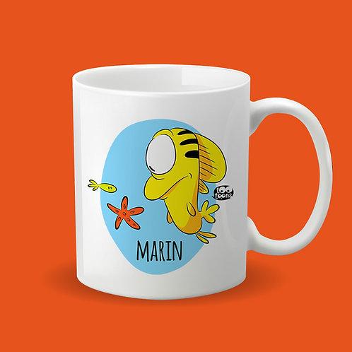 Mug Céramique cartoon Tootoons, modèle Poisson, texte personnalisable