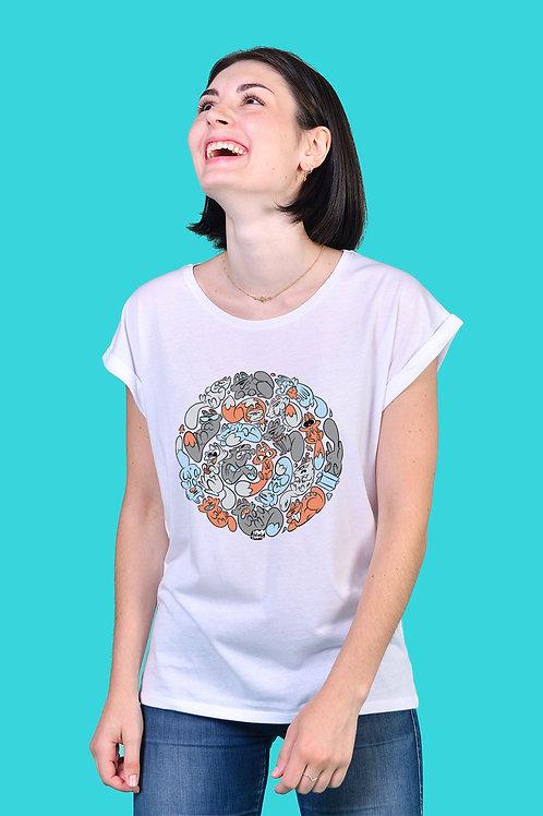 Tee-shirt Femme Tootoons, modèle Chats gris, texte personnalisable
