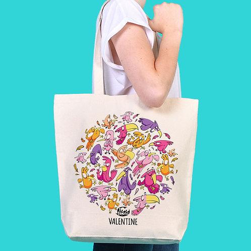 Sac Tote-bag cartoon Tootoons, modèle Oiseaux, texte personnalisable
