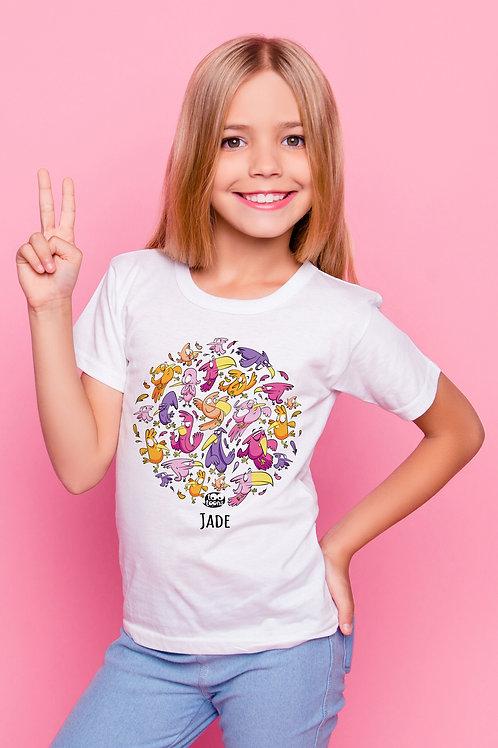 Tee-shirt Enfant/Ado Tootoons, modèle Bande d'oiseaux, texte personnalisable