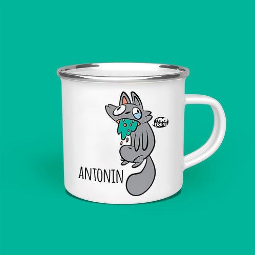 Mug vintage Tootoons 480 ml, modèle Chat malade, texte personnalisable