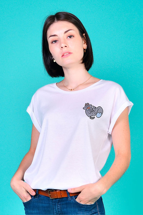 Tee-shirt Femme Tootoons, modèle Chat relax, texte personnalisable